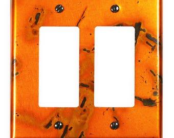 Double Rocker/GFI Copper Switch Plate in Golden Bamboo