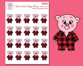 Pajama Day - Buffalo Plaid Pajamas - Pajamas Planner Stickers - Christmas Pajamas - Flannel Pajamas - Pj's - Winter Stickers - [1-03]