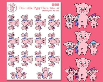 Mommy and We Time Oinkers - Planner Stickers - Mommy and Me - Kids Planner Stickers - Parenting Stickers - Piglets - Pigs - [Piglets 1-02]