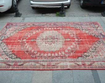 Turkish Rug, Vintage Bohemian Rug, Handmade Area Rug, Red Rug with Flower Patterns Floor Rug  (310 cm x 200 cm)  10,1 ft x 6,5 ft  model:842