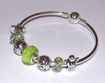 """STUNNING silver Bangle Bracelet with green charms """"Pandora style"""""""