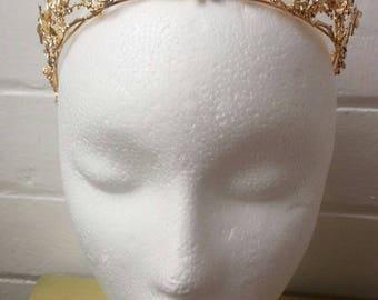 Boho wedding gold tone bridal woodland diamanté dragonfly twigs tiara crown.