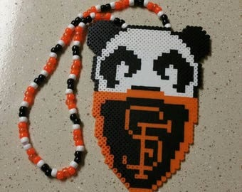 Panda with mask perler necklace