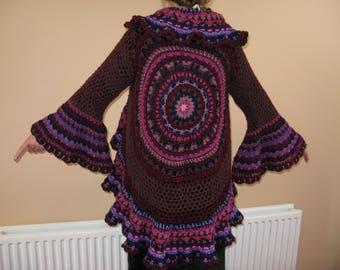 Unique crocheted mandala jacket, festival jacket, cardigan, game of thrones, medaeval sleeves