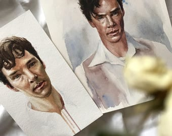 Watercolor painting of Benedict Cumberbatch, great and lovely actor!