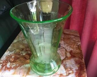 Large GREEN VASELINE GLASS Vase