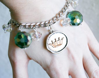 Gypsy Giver Silver Coin and Green Crystal Bracelet