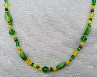 Fancy Oregon Duck Bead Necklace - U of O Green and Yellow, Crystals Sparkle, Bright, Fun, Festive, Game Day Jewelry, Go Ducks!