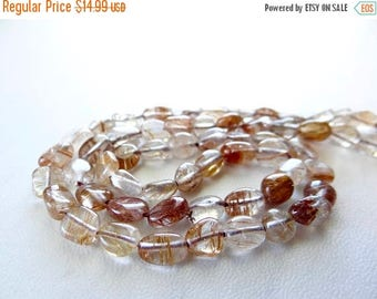 63% End of Summer Sale Copper and Golden rutilated quartz smooth nuggets/6x6-7x7mm/7.5 inch strand