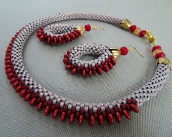 Scarlet Bead Crochet Necklace & Earrings Set