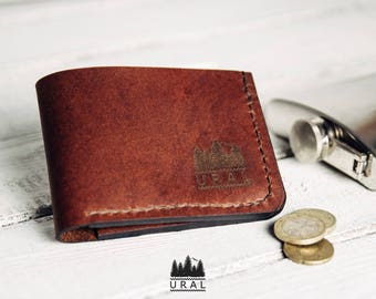 Purse made of genuine leather (Krast 1.4 mm) Color: Brown