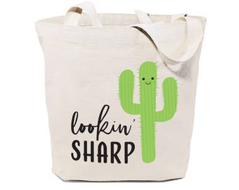 Cotton Canvas Lookin' Sharp Reusable Grocery Bag and Farmers Market Tote Bag, Food Pun, Shopping, Cute Funny Gifts, Valentine's Day, Cactus