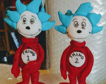 Fondant Suess Thing 1 & 2 Cake Toppers