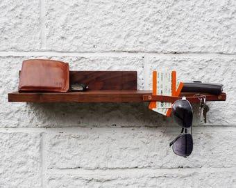 Hall Shelf- solid walnut space saving shelf with leather holder