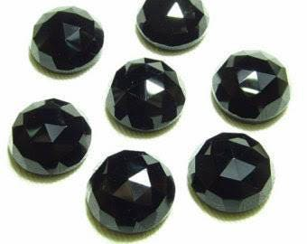 Natural lot of 10 pcs Black Onyx round shape  rose cut gemstone for women jewelry for sale with free shipping