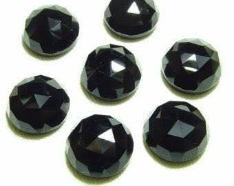Natural lot of 25 pcs Black Onyx round shape  rose cut gemstone for women jewelry for sale with free shipping