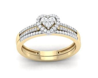 1 Ct Round Cut Natural Diamond Heart Frame Engagement Ring Set in 14K Yellow Gold, Wedding Band,Modern Solitaire Engagement Ring