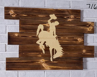 wyoming cowboys Wood Sign  wyoming cowboys Wall art  wyoming cowboys Gift  wyoming cowboys Birthday  wyoming cowboys