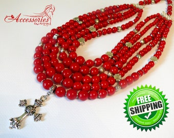 Ethnic jewelry Ethnic necklace Natural red coral Coral necklace Red coral jewelry Red coral gemstone Folk necklace Boho style necklace