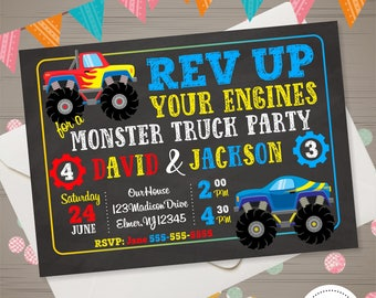 Monster jam invites Etsy