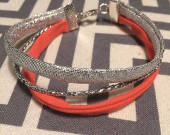 REF0098 - Coral and silver fabric Cuff Bracelet