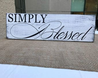 Simply Blessed rustic wood sign