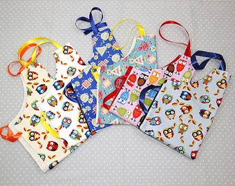2-4 years kids novelty personalised apron with Ribbon Straps