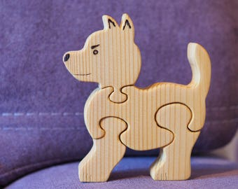 Wooden puzzle puppy, dog, educational toy for toddlers, kids gift, Waldorf animals, Montessori materials, baby gift idea, wood dog  figure