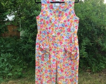 Vintage 80s/90s Laura Ashley Floral Sleeveless Jumpsuit