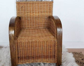 Vintage Rattan Chair for Kids with Teakwood