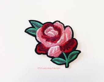 1x red pink rose PATCH  Iron On Embroidered Applique love shabby DIY jacket vintage retro flower romantic tattoo
