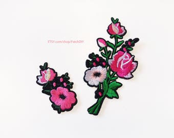 Bunch of flowers red pink rose PATCH set  Iron On Embroidered Applique love shabby DIY jacket vintage retro flower romantic tattoo