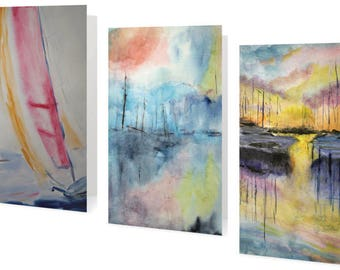 Set 6 of Greeting Cards Featuring Boats & Sunsets based on Original Watercolor Paintings by Steve Parulski