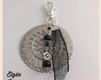 Bag charm - black and gray rosette