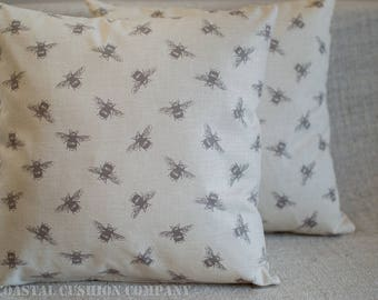 """Bumblebee Cushion Cover. 17"""" x 17"""" vintage style pillow cover with buzzy bee print on a linen style background. Handmade, 100% Cotton."""