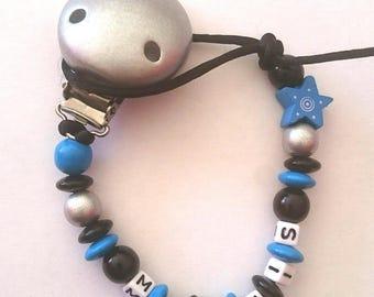 Pacifier clip silver blue black custom