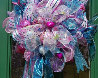 RAINBOW CHRISTMAS  wreath, deco mesh, christmas, decoration,pink, lilac, blue, christmas,gold,door decor,gift,