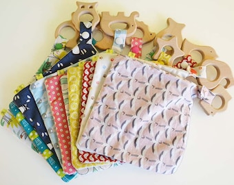 TO order - minky and natural wood teething toy untreated