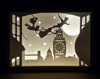 Paper Cut Silhouette Light Box - Peter Pan