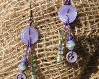 Earrings green, mauve, violet, recycled materials