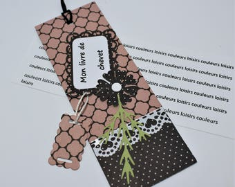 """Cardstock color leisure bookmark handmade """"bookmark beige pink and grey dots with tag""""My bedside book""""11 pm"""