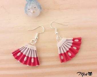 Origami earrings red fans with white polka dots paper [handmade jewelry.