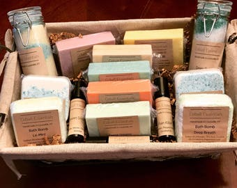 Gift Basket - Essential Oils - Handmade Soap - Bath Bombs - Rollerballs - Gift Set