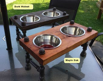 industrial style dog bowl stand | steampunk style | raised dog bowl stand