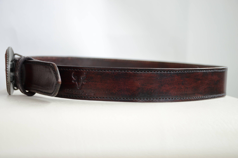 mahogany leather belt personalized mens leather belt