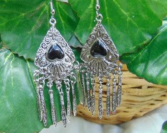 Dangle, drop, earrings, 1980's, ethnic, shipped free