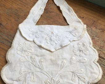 Antique Hand Embroidered Linen Purse
