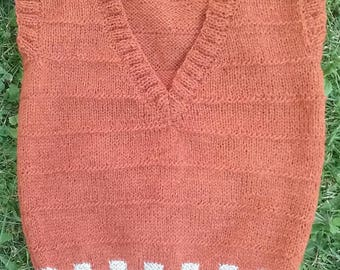 childern's wool vest, wool vest, hand knitt vest, vest, brown vest,