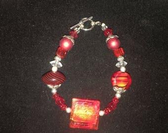 Red and Black Beaded Bracelet