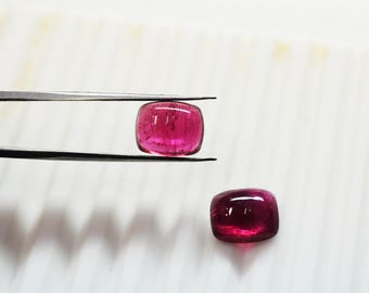 AAA quality RUBELLITE (pink tourmaline) Smooth Cabochon Pair /9x11 mm approx